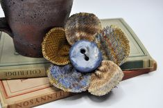 blue beige winter coat pin large wool tweed cape pin brooch OOAK handmade corsage jacket scarf wrap coat hat flower 10 cm fabric button by edgeofthesand on Etsy Coat Pin, Fabric Ornaments, Craft Day, Shabby Flowers, Crafts To Make And Sell, Flower Hats, Brooches Handmade, Wool Fabric, Fabric Crafts