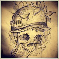how to draw clothes Skull Tattoo Design, Skull Tattoos, Body Art Tattoos, Sleeve Tattoos, Tattoo Designs, Tattoo Sketches, Tattoo Drawings, Tattoo P, Military Tattoos