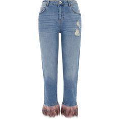 River Island Mid blue fur hem distressed boyfriend jeans ($90) ❤ liked on Polyvore featuring jeans, bottoms, denim, pants, blue, boyfriend / slouch jeans, women, distressed jeans, destructed boyfriend jeans and straight leg jeans