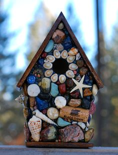 New to WinestoneBirdhouses on Etsy: Tropical Mosaic Birdhouse with Ocean Blues Star Fish Sea Shells Water themed Wine corks Dolphin and mini Sand Dollar OOAK (105.00 USD)