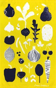 Illustration DesignFruit & Veg Tea Towel - Louise Lockhart, The Printed Peanut, design, printmaking. Vegetable Illustration, Fruit Illustration, Food Illustrations, Graphic Illustration, Pattern Illustrations, Garden Illustration, Illustration Styles, Simple Illustration, Editorial Illustration