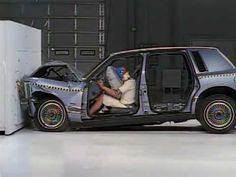 Crash test with and without safety belt: Great for a conversation about inertia.