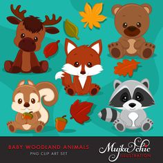 A wonderful set of baby woodland animals clipart. Baby fox clipart, babyu00a0raccoon clipart, baby bear clipart, baby moose clipart, baby squirrel clipart and fall leaves with an acorn graphic. Baby woodland animals are all in sitting position.u00a0 Perfect for invitations, party printables and embroidery.