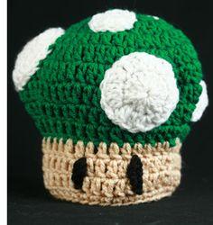 "Free Crochet Pattern – ""1 Up"" Mushroom Baby Hat | Celebration Generation: Food, Life, Kitties!"