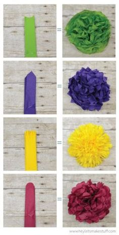 Learn how to make four different types of tissue paper flowers -- they can make a gorgeous wedding centerpiece without breaking the bank! Learn how to make four different types of tissue paper flowers -- they can make a gorgeous wedding Mexican Paper Flowers, How To Make Paper Flowers, Paper Flowers Diy, Flower Crafts, Diy Paper, Paper Crafts, Paper Poms, Making Tissue Paper Flowers, Paper Dahlia