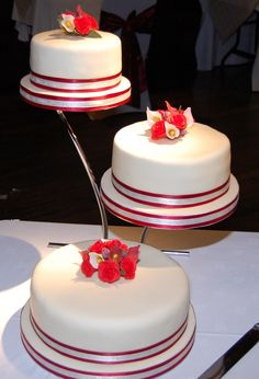 Wedding Cakes Metal Stands  Tiers Purple Orchids