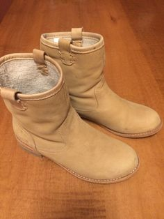 Gap Womens Leather Shearling Lined Biker Boots Size 7 5 Excellent Condition   eBay