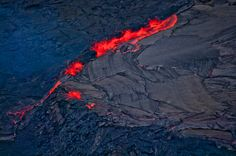 Aerial view of Kiluea Volcano and lava flow, Hawaii Volcanoes