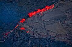 Aerial view of Kiluea Volcano and lava flow, Hawaii Volcanoes