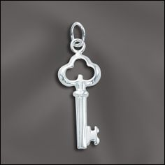 pretty sterling silver key charm..available at wholesalejewelrysupply.com