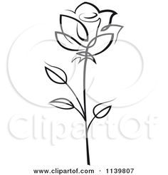 Clipart Of A Black And White Rose Flower 17 - Royalty Free Vector Illustration by Seamartini Graphics