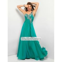 Chiffon Beaded One Shoulder Pleated Criss-cross Back Prom Dress PD34019 at belloprom.com