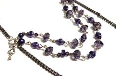 Long Royal Purple and Gunmetal Layered Necklace Made by LinksLocks, $20.00