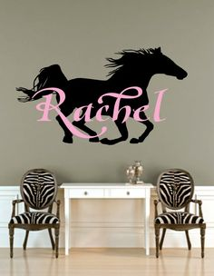 """Girl  Name Wall Decal - Initial and Name with Horse - Vinyl Wall Decal for Baby Nursery-Teen Bedroom Girl Teen 23""""H x 40""""W"""