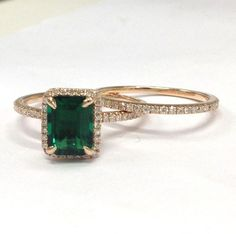 Emerald Shape Emerald Engagement Ring Sets Pave Diamond Wedding 14K Rose Gold…