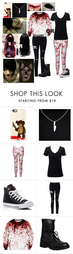 """""""Jeff the killers girlfriend"""" by cheergirl1798 ❤ liked on Polyvore featuring Casetify, Converse, Miss Selfridge and Steve Madden"""