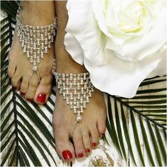 silver  barefoot sandals -  wedding barefoot sandals - rhinestone barefoot sandals  - diamante - beach