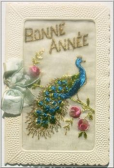 Embroidered Happy New Year card Types Of Embroidery, Ribbon Embroidery, Embroidery Stitches, Embroidery Patterns, Machine Embroidery, Vintage Cards, Vintage Images, Vintage Shabby Chic, Mail Art