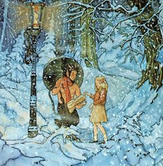 'The Lion, the Witch, and the Wardrobe', illustrated by Michael Hague -- the version I grew up with. :)