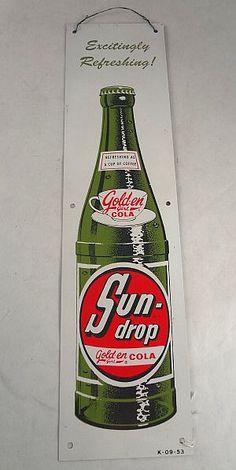 Sun-Drop Cola Vintage Door Push Sign (Excitingly Refreshing!, Golden Cola, Antique Soda Advertising Signs)