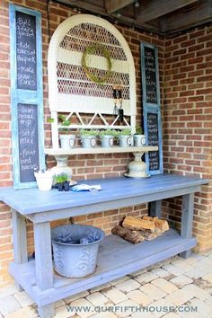 Old garage work bench turned darling potting table. -- side of garage towards garden :) Outdoor Spaces, Outdoor Living, Outdoor Decor, Outdoor Projects, Garden Projects, Dream Garden, Home And Garden, Potting Tables, Garden Inspiration