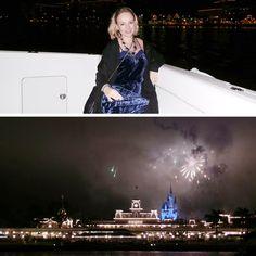 Os fogos do Castelo da Cinderela visto de um Yatch, oferecido pela Disney.
