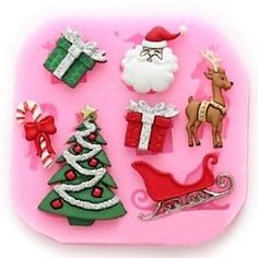 qinxi Christmas Tree Deer Claus Gift Fondant Cake Chocolate Silicone Mold Cake Decoration Tools,L8.4cm*W8.2cm*H0.9cm * Additional details at the pin image, click it  : Candy Making Supplies