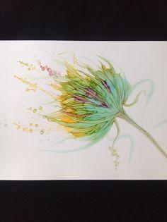 Fairies garden,alcohol ink on yupo,Jayne vanner. Jayne Vanner
