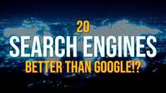20 Search Engines That Are Better Than Google!? - YouTube Computer Internet, Computer Tips, Alternative News, Environmental Issues, Do It Right, Educational Technology, Cool Websites, Good To Know