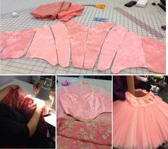 satin brocade bodice and bask showing stages of construction from tutu.com