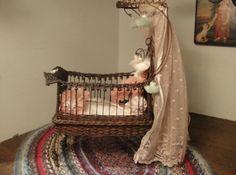 Dollhouse Miniature Vintage Handmade Nursery by uniqueminiatures