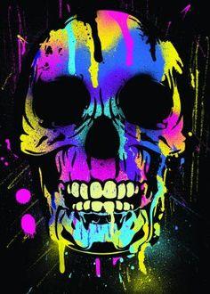 skull paint drips pop colorful prints posters canvas metal art horror halloween vivid death cool