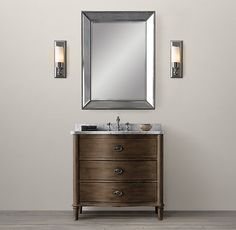 RH's Empire Rosette Powder Room Vanity:An French dresser discovered by our designers contributed… Simple Bathroom, Modern Bathroom, Master Bathroom, Bathroom Ideas, Basement Bathroom, Bathroom Vanities, Bathroom Inspiration, Bungalow Bathroom, 1950s Bathroom