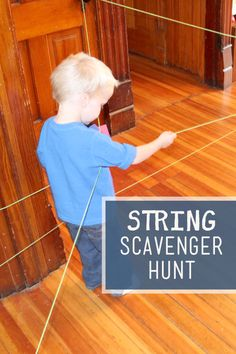 An obstacle course with string for an indoor scavenger hunt for kids! Thread string around the house and use it as to hunt for items attached to it! Gross Motor Activities, Indoor Activities, Craft Activities For Kids, Physical Activities, Toddler Activities, Learning Activities, Games For Kids, Preschool Ideas, Happy Mom
