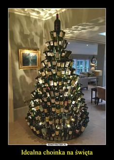Christmas Tree Ideas - Oh so merry! Wine Bottle Tree, Cooking With Sin