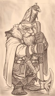 I made a Quick-Ish sketch of a dwarf then liked it enough to polish it a bit, I don't usually draw dwarfs but my friends were talking about them so I couldn't help myself . This was really fun and felt easier than other stuff I try to make so it Anime Art Fantasy, Fantasy Drawings, Fantasy Rpg, Fantasy Artwork, Fantasy Character Design, Character Inspiration, Character Art, Fantasy Races, Fantasy Warrior