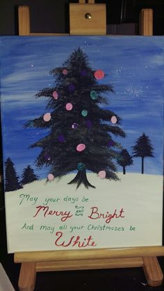 Hand painted christmas tree that i will keep forever and add to it every year. All the lights are our kids and grandkids finger dipped in paint.