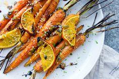 Grilované mrkve - pomeranč, semínka