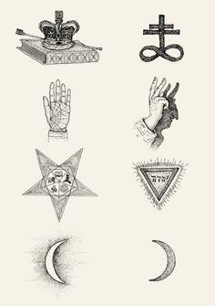 Moon Hand Star Crown Engraving Drawing