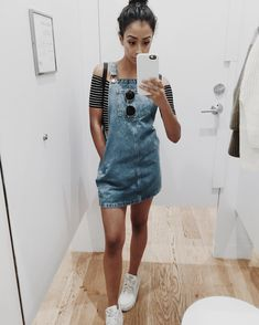 In love with this denim jumpsuit dress!