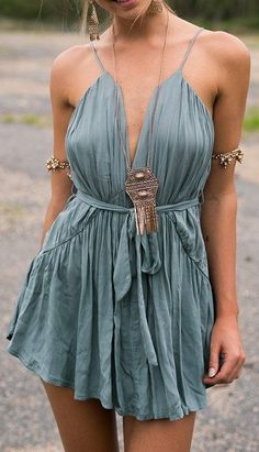 A Great Day Plunging Short Dress in Sage green