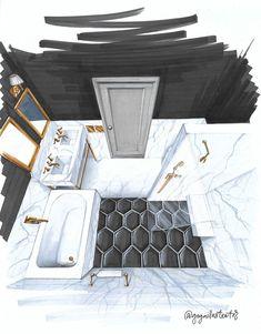 45 New Ideas bathroom interior design sketch Croquis Architecture, Interior Architecture Drawing, Interior Design Renderings, Architecture Concept Drawings, Drawing Interior, Interior Rendering, Interior Sketch, Architecture Design, Interior Design Portfolios