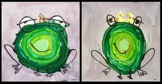 frogs - start with light green circle Spring Art, Summer Art, Painting For Kids, Drawing For Kids, Kids Room Art, Art For Kids, Frog Illustration, Frog Theme, Kindergarten Art Projects