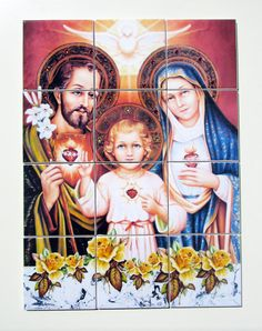 The #Holy #Family #Mosaic  #catholic tile mural #handmade in Italy by TerryTiles2014. Suitable indoor or outdoor. Ready to hang. Free shipping to selected countries. A perfect (and cheap) #religious gift.