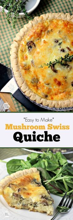 Mushroom Swiss Quiche | by Renee's Kitchen Adventures - easy recipe for quiche full of mushrooms, thyme, eggs and Swiss cheese. Great #vegetarian option for breakfast, brunch, lunch or dinner. #SundaySupper #RKArecipes