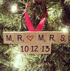Mothers Day Crafts For Kids Discover Wedding Ornament Wedding Scrabble Ornament Engagement Ornament Wedding Christmas Gift Engagement Gift Scrabble Ornament Mr. Diy Christmas Ornaments, Homemade Christmas, Diy Christmas Gifts, Christmas Projects, Holiday Crafts, Christmas Crafts, Christmas Decorations, Homemade Ornaments, Christmas Gift Newlyweds