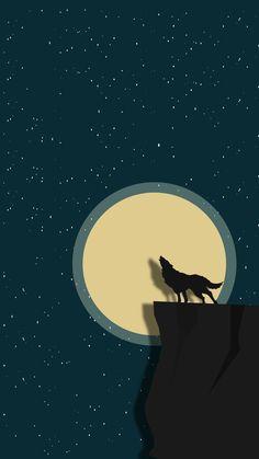 Wolf in moon Minimal Wallpaper, Pop Art Wallpaper, Painting Wallpaper, Mobile Wallpaper, Wallpaper Backgrounds, Cellphone Wallpaper, Iphone Wallpaper, Simple Wallpapers, Landscape Art