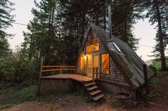 amazing-tiny-a-frame-cabin-in-the-redwoods. Could definitely live in this. Seems very spacious inside.