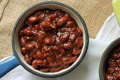 Maple Bourbon Baked Beans made in the crock pot to keep your kitchen cool. Perfect for summer barbecues.