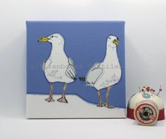 Seagulls  Limited Edition Embroidery Art Canvas by gillianbates